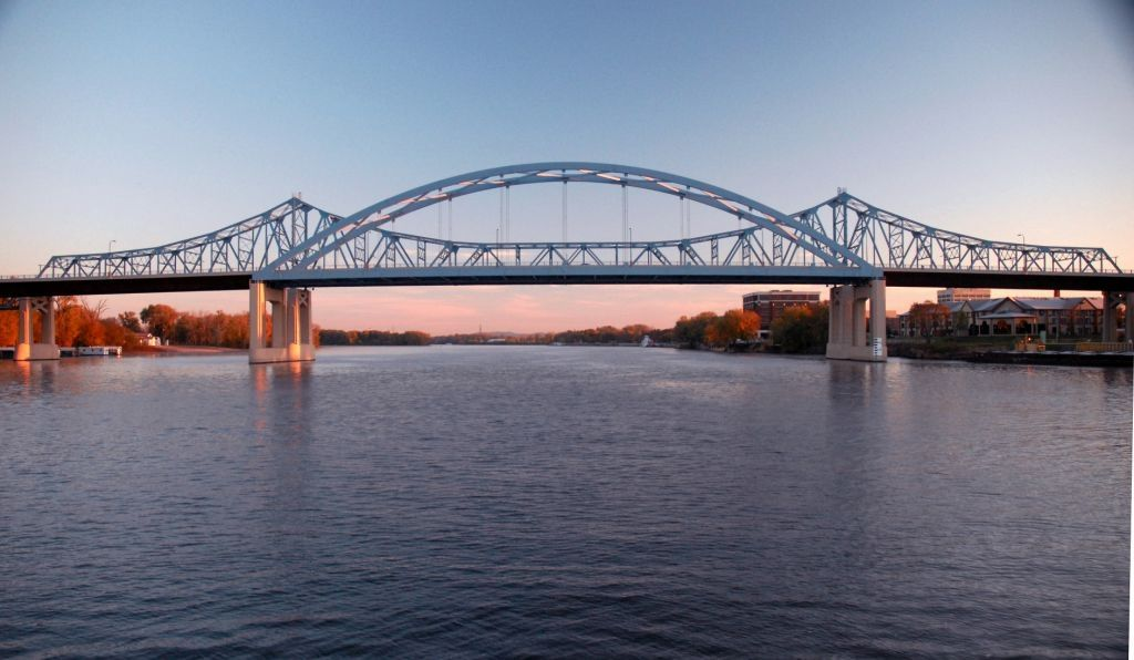 Crossing the Mississippi at La Crosse, Wisconsin.